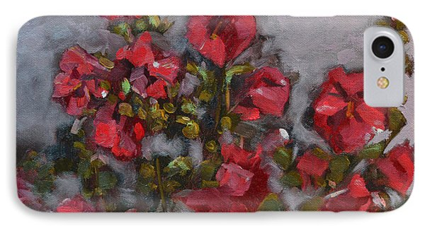Hollyhocks IPhone Case by Pattie Wall