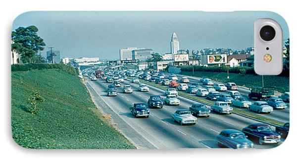 Hollywood Freeway 2 1954 Phone Case by Cumberland Warden