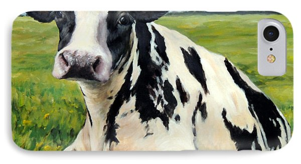 Cow iPhone 7 Case - Holstein Cow Relaxing In Field by Dottie Dracos