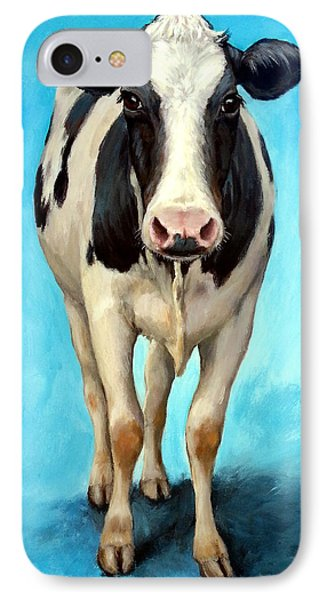 Cow iPhone 7 Case - Holstein Cow Standing On Turquoise by Dottie Dracos