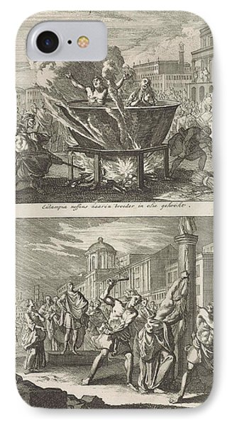 Holy Eulampia And Her Brother Are Boiled Alive In Oil IPhone Case by Jan Luyken And Barent Visscher And Jacobus Van Hardenberg