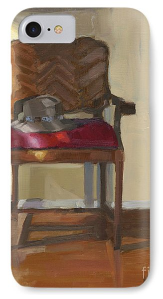 IPhone Case featuring the painting Sold Home Is Where Your Hat Lies by Nancy  Parsons