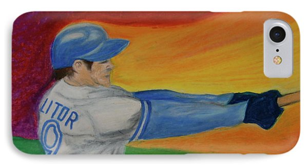 IPhone Case featuring the drawing Home Run Swing Baseball Batter by First Star Art