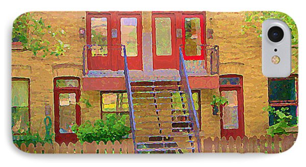 Home Sweet Home Red Wooden Doors The Walk Up Where We Grew Up Montreal Memories Carole Spandau IPhone Case by Carole Spandau