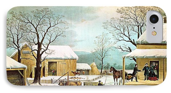 Home To Thanksgiving IPhone Case by Currier and Ives