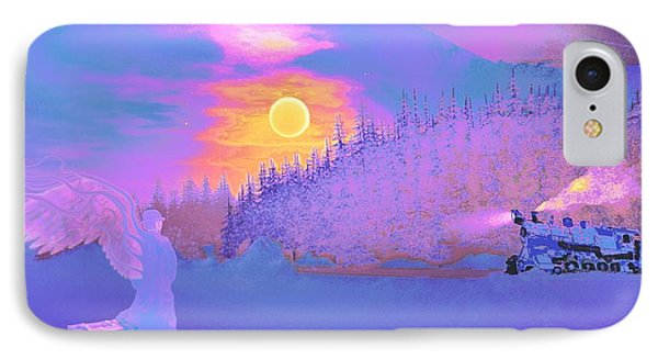 Homebound Train Angel And A Suitcase IPhone Case by David Mckinney