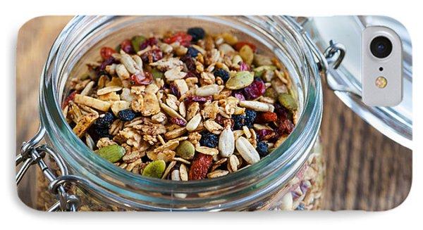 Homemade Granola In Open Jar IPhone Case by Elena Elisseeva