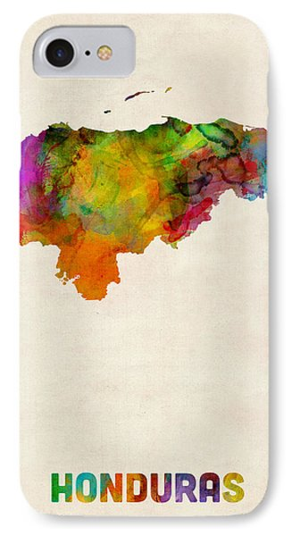 Honduras Watercolor Map IPhone Case by Michael Tompsett