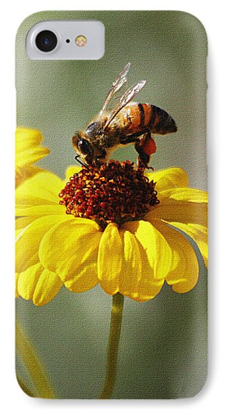 Honey Bee And Brittle Bush Flower IPhone Case by Tom Janca