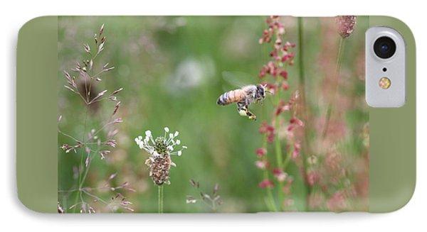 Honeybee Flying In A Meadow IPhone Case by Lucinda VanVleck
