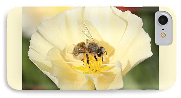 Honeybee On Cream Poppy IPhone Case by Lucinda VanVleck