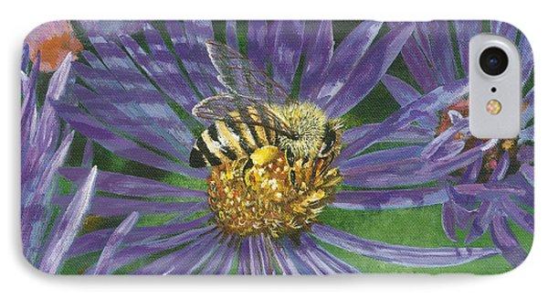 Honeybee On Purple Aster Phone Case by Lucinda V VanVleck