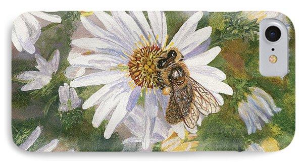 Honeybee On White Aster Phone Case by Lucinda V VanVleck