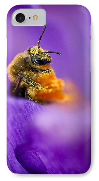 Honeybee Pollinating Crocus Flower IPhone Case
