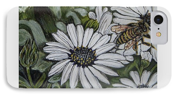 IPhone Case featuring the painting Honeybee Taking The Time To Stop And Enjoy The Daisies by Kimberlee Baxter