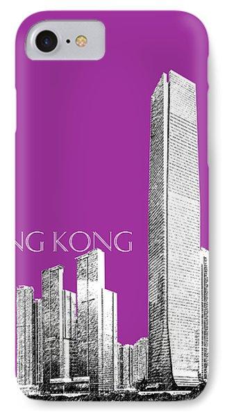 Hong Kong Skyline 2 - Plum Phone Case by DB Artist