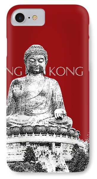 Hong Kong Skyline Tian Tan Buddha - Dark Red Phone Case by DB Artist