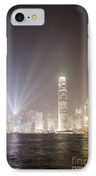 Hong Kong Victoria Harbor At Night With Light Show IPhone Case by Matteo Colombo