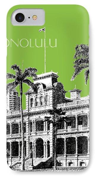 Honolulu Skyline Iolani Palace - Olive Phone Case by DB Artist