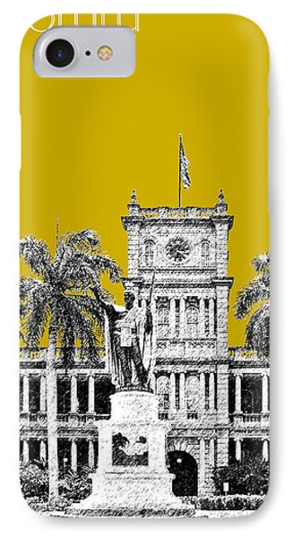 Honolulu Skyline King Kamehameha - Gold Phone Case by DB Artist