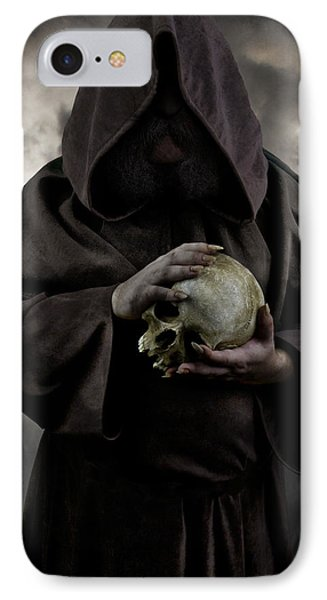 Hooded Moustached Man Wearing Dark Cloak And Holding A Human Skull In His Hands IPhone Case by Jaroslaw Blaminsky