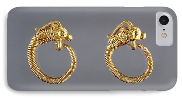 Hoop Earrings With Antelope Head Finials Unknown Alexandria IPhone Case by Litz Collection