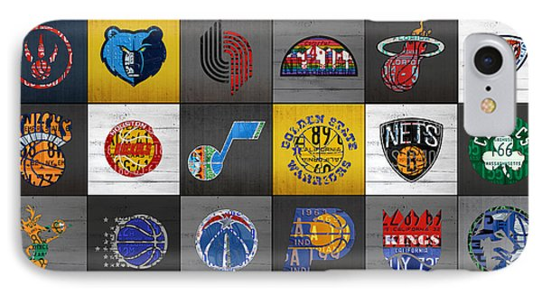 Hoop It Up Recycled Vintage Basketball League Team Logos License Plate Art IPhone Case