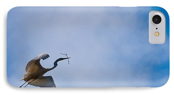 Hopeful Egret Building A Home  IPhone Case by Terry Garvin