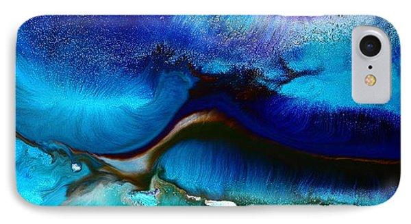 Horizontal Abstract Art Just Blue By Kredart IPhone Case by Serg Wiaderny