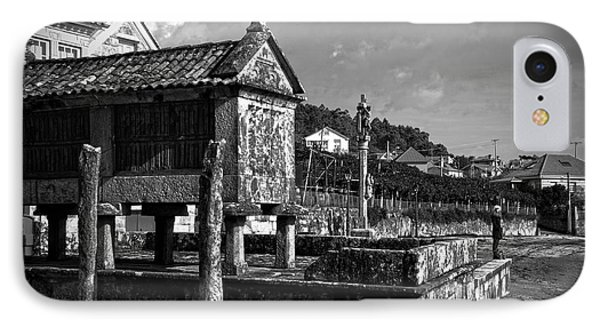 Horreo And Cruceiro In Galicia Bw IPhone Case by RicardMN Photography