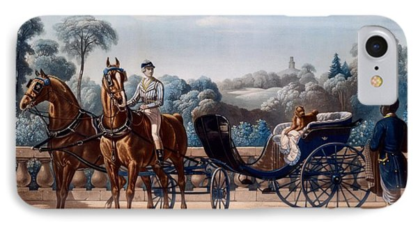Horse And Carriage, First Half C19th IPhone Case by Henri d'Ainecy, Comte de Montpezat