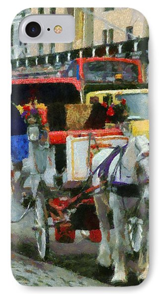 Horse And Carriage In New York City IPhone Case by Dan Sproul