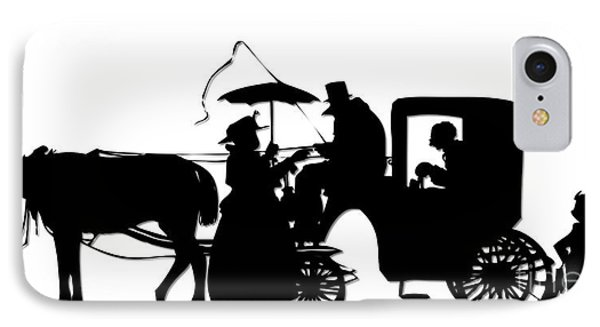 Horse And Carriage Silhouette IPhone Case by Rose Santuci-Sofranko