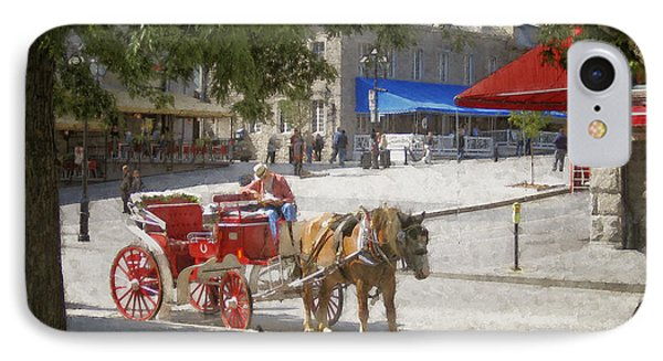 Horse And Carriage Street Scene Montreal Phone Case by Ann Powell