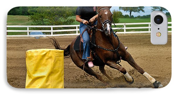 Horse And Rider In Barrel Race Phone Case by Amy Cicconi