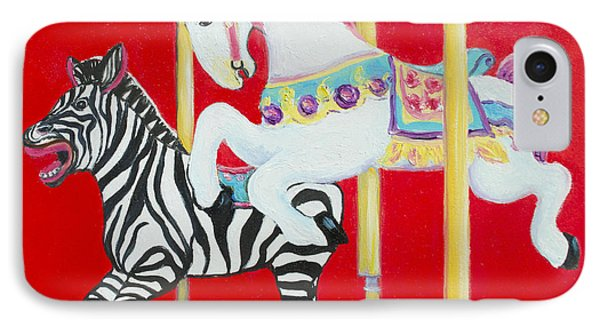 Horse And Zebra Carousel IPhone Case by Jan Matson