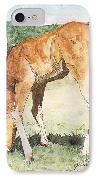 Horse Art Long-legged Colt Painting Equine Watercolor Ink Foal Rural Field Artist K. Joann Russell  IPhone Case