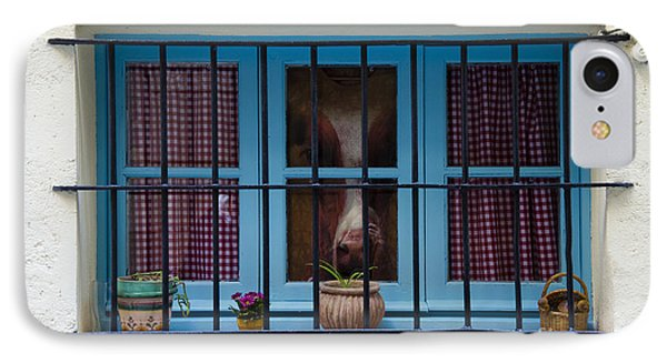 Horse Behind The Window Phone Case by Victoria Herrera