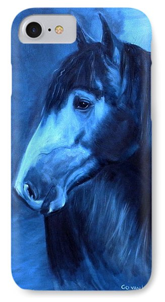 IPhone Case featuring the painting Horse - Carol In Indigo by Go Van Kampen