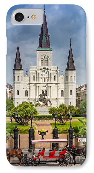 Horse Carriage At Jackson Square IPhone Case by Inge Johnsson