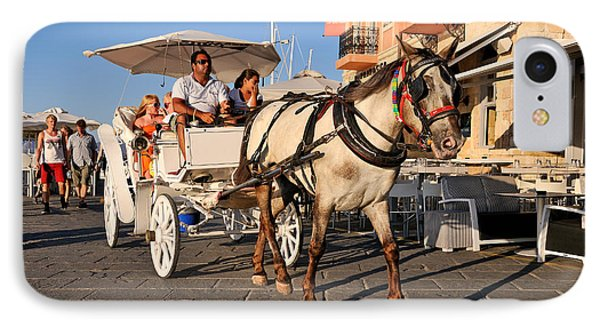 Horse Carriage At The Old Port Of Chania Phone Case by George Atsametakis