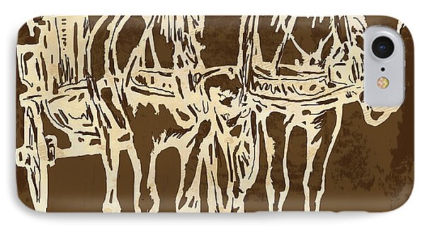 Horse Carriage - Stylised Pop Modern Etching Art Portrait - 1 IPhone Case