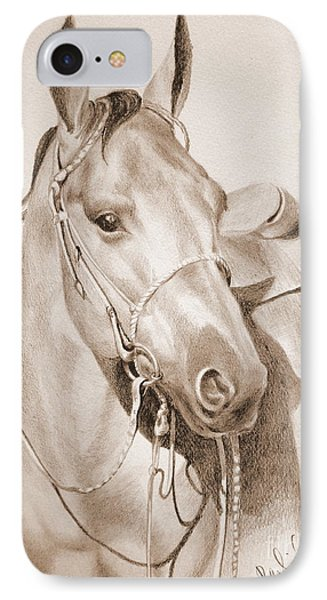 IPhone Case featuring the drawing Horse Drawing by Eleonora Perlic