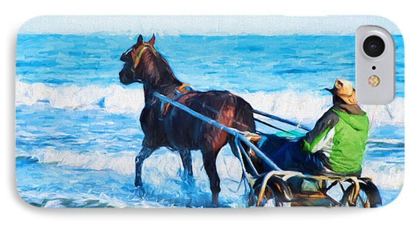 Horse Drawn Carriage In The Ocean Digital Art IPhone Case by Vizual Studio