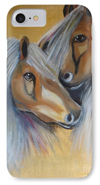 IPhone Case featuring the painting Horse Duo by Saranya Haridasan