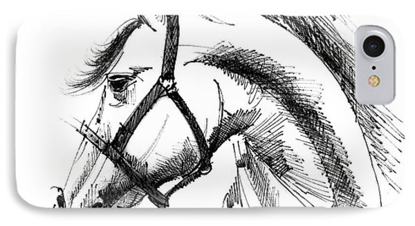 Horse Face Ink Sketch Drawing Phone Case by Daliana Pacuraru