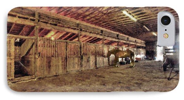 Horse In Barn Phone Case by Dan Friend