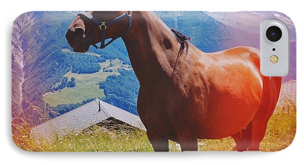 Horse In The Alps IPhone Case by Matthias Hauser