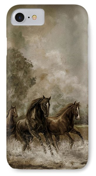 Horse Painting Escaping The Storm IPhone Case by Regina Femrite
