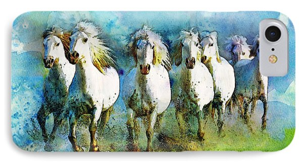 Horse Paintings 006 IPhone Case by Catf